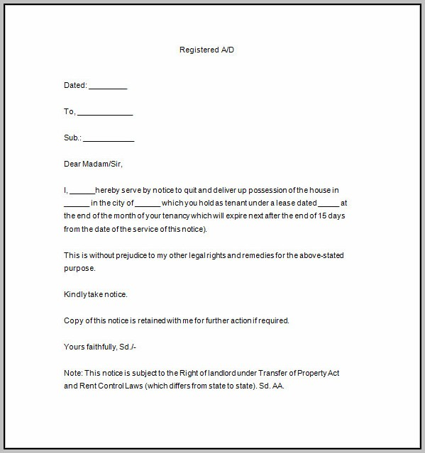 Eviction Notice Template Uk