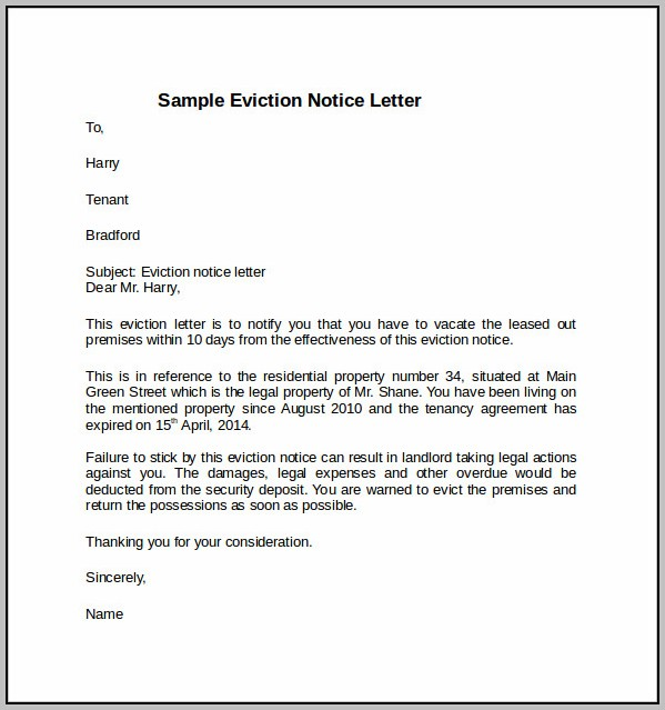 Eviction Notice Tenant Sample