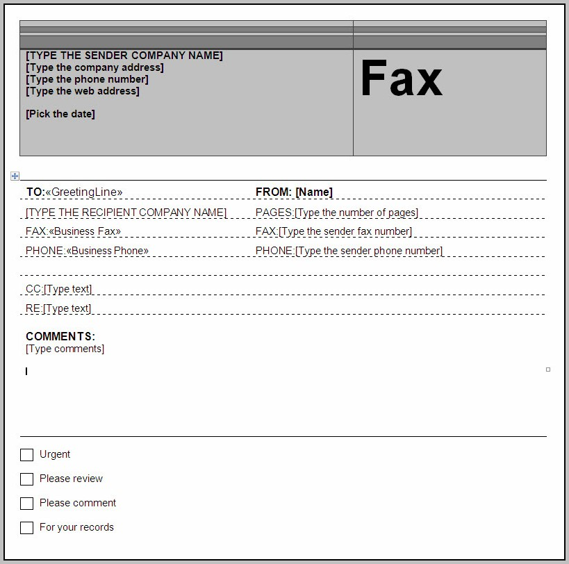 Free Fax Cover Letter Template Word
