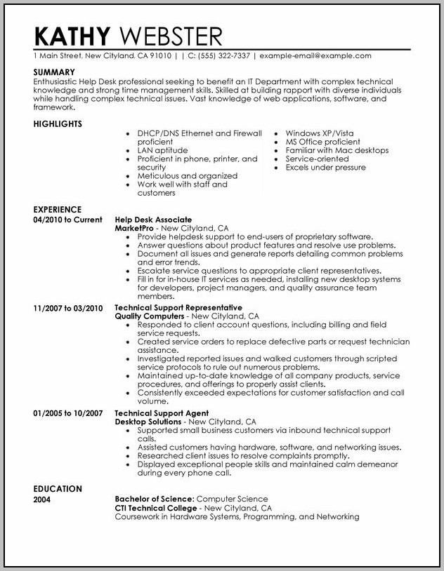 Help Desk Cover Letter Examples Entry Level