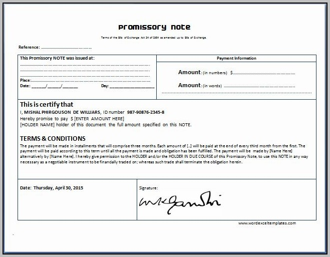 Hospital Promissory Note Template
