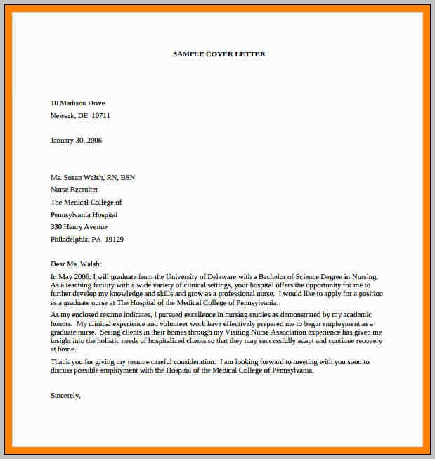 Nursing Resume Cover Letter Template Free