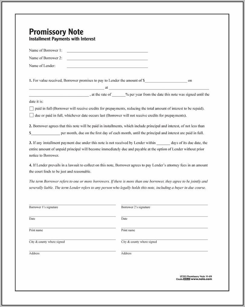 Promissory Note Form Example
