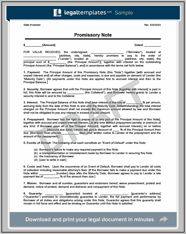 Promissory Note Sample About Tuition Fee