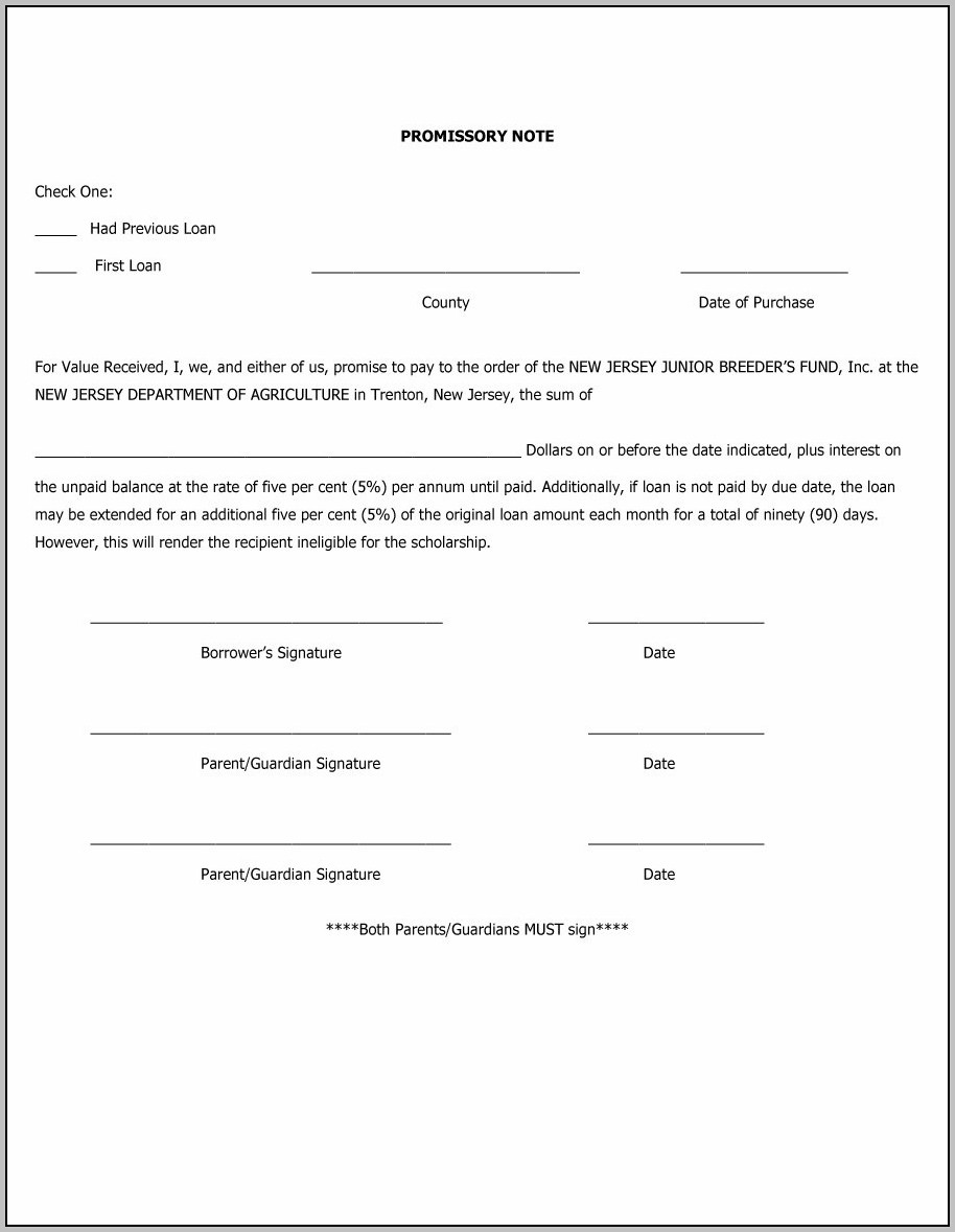 Promissory Note Template Auto Loan