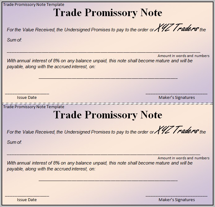 Promissory Note Template Business