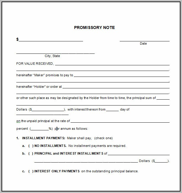 Promissory Note Template Collateral
