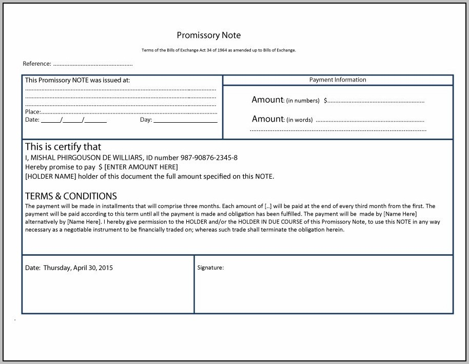 Promissory Note Template Download
