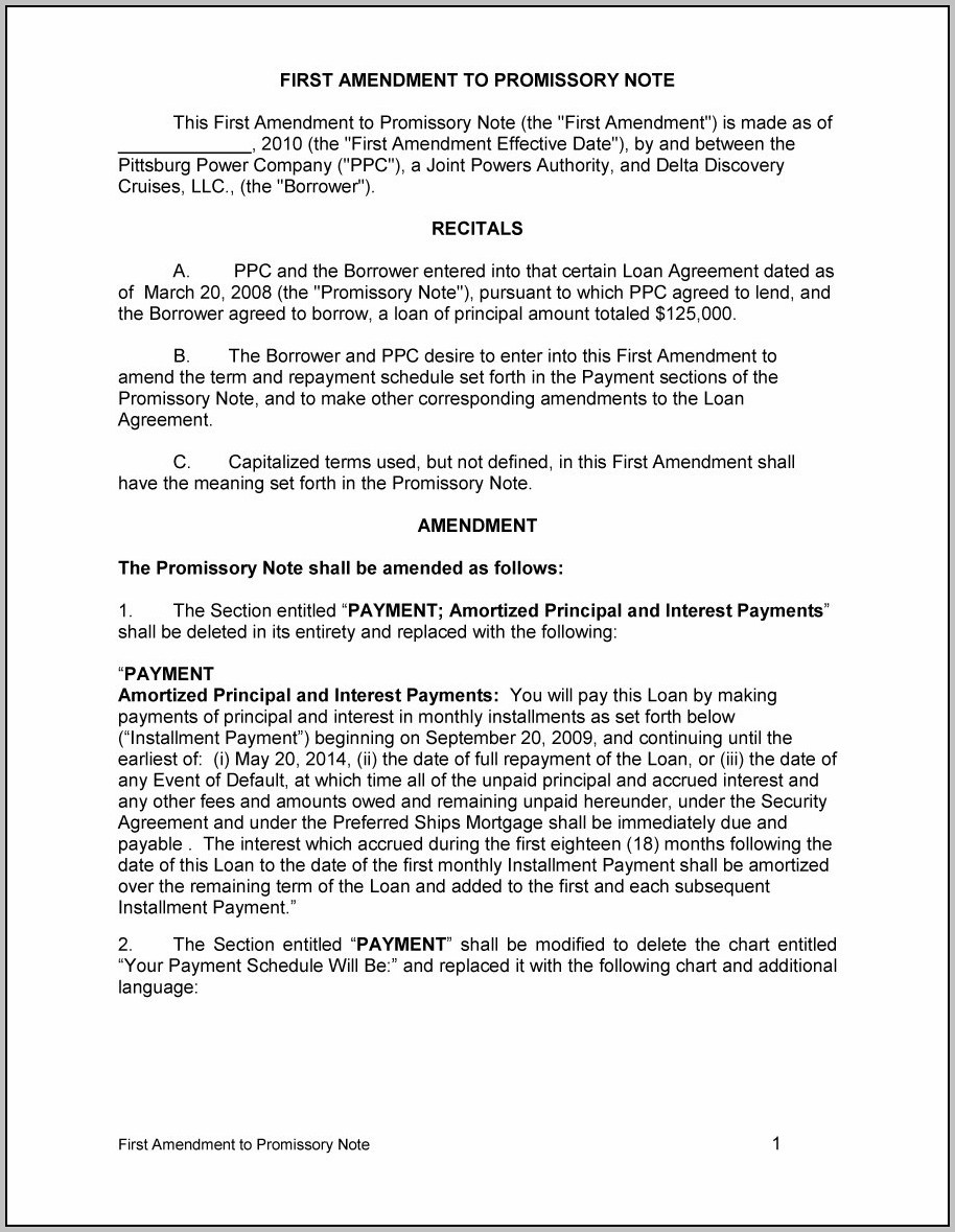 Promissory Note Template Editable
