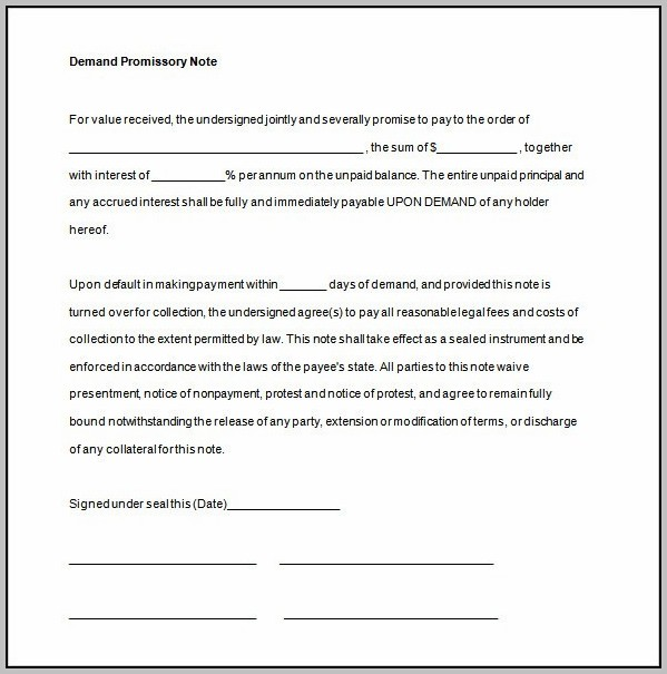Promissory Note Template For Microsoft Word