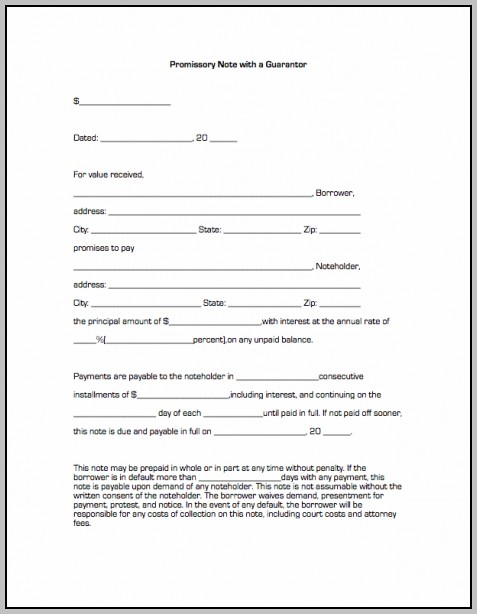 Promissory Note Template For Real Estate