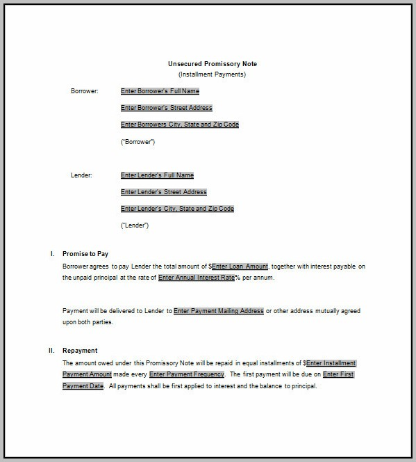 Promissory Note Template For Secured Loan