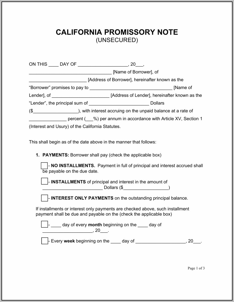 Promissory Note Template Louisiana
