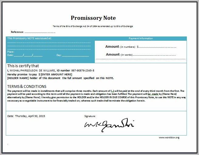 Promissory Note Template Microsoft Office
