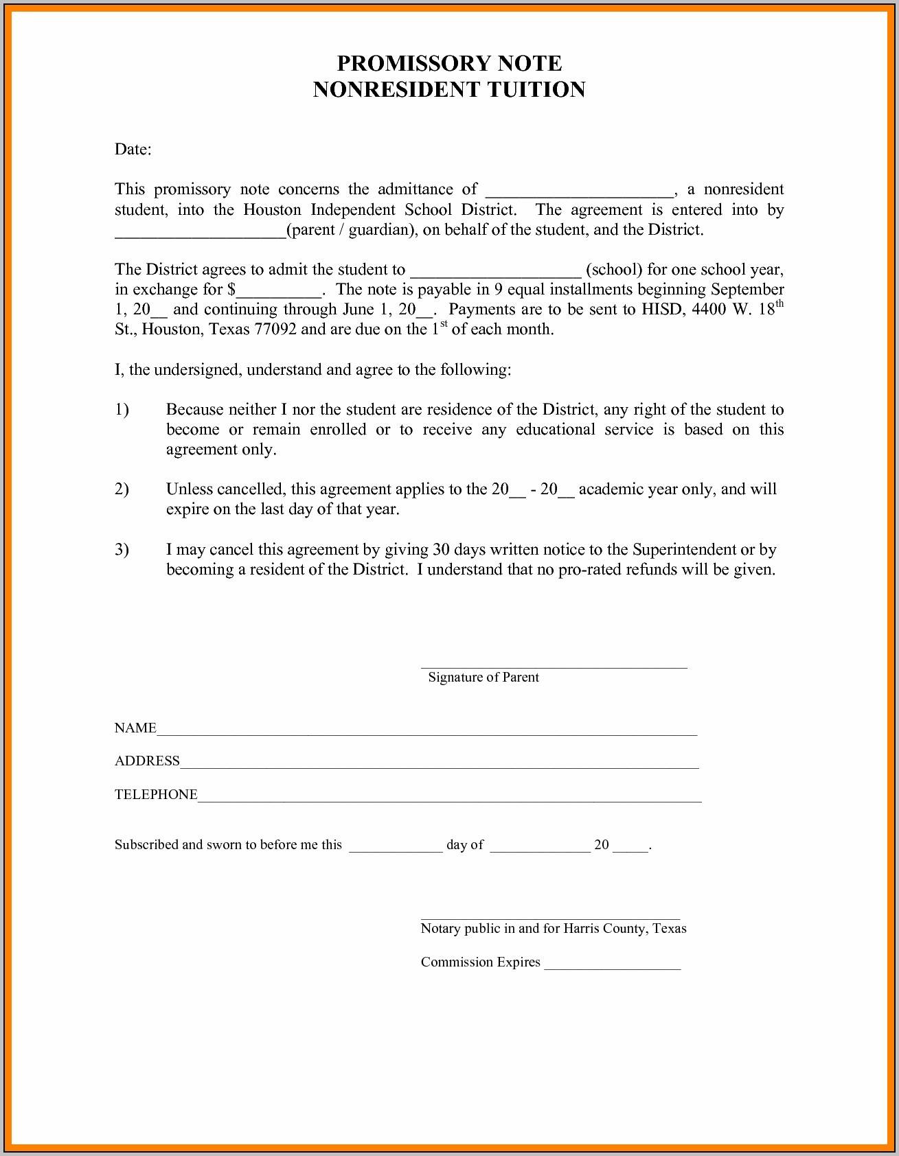 Promissory Note Template Org