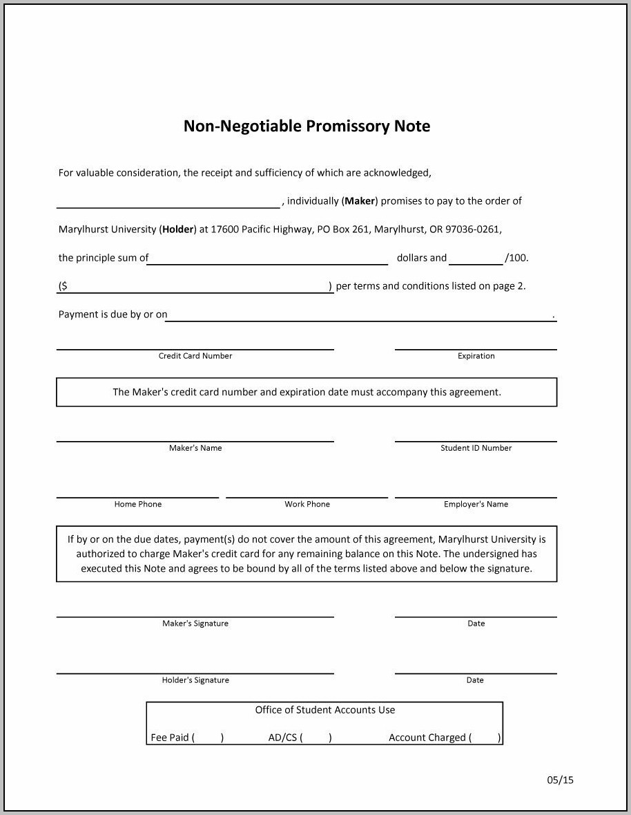 Promissory Note Template Printable