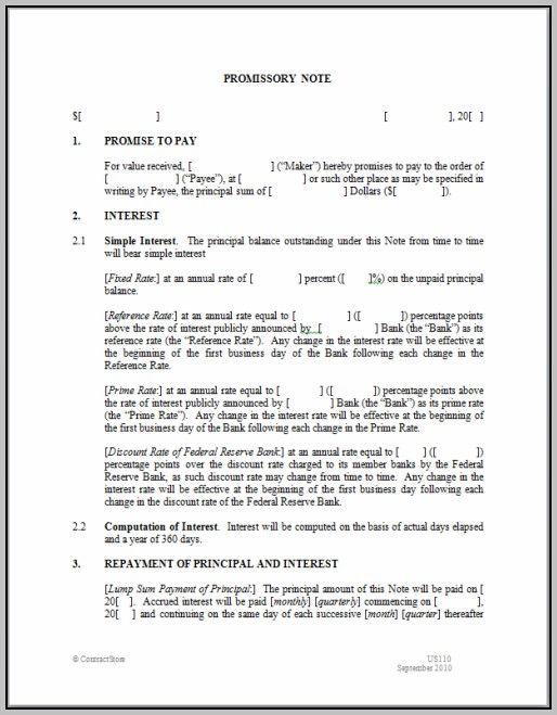 Promissory Note Template Uk