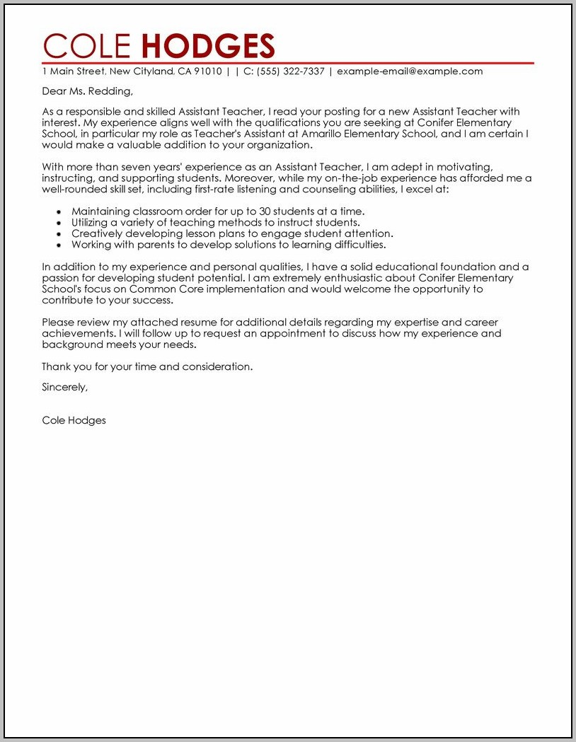 Sample Cover Letter For An Assistant Teacher