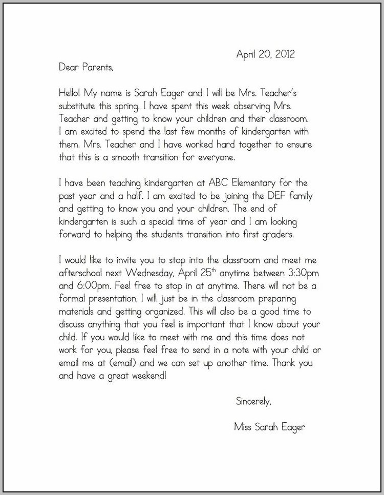 Sample Cover Letter For First Grade Teacher