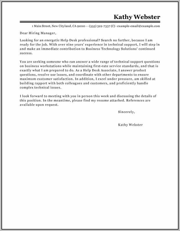 Sample Cover Letter For Help Desk Manager