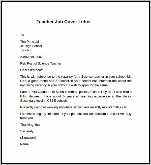 Sample Cover Letter For International Teaching Position