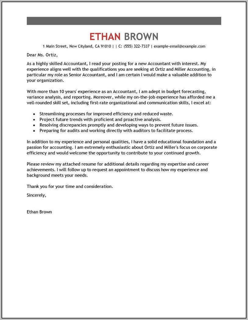 Sample Cover Letter For Resume Accounting Assistant