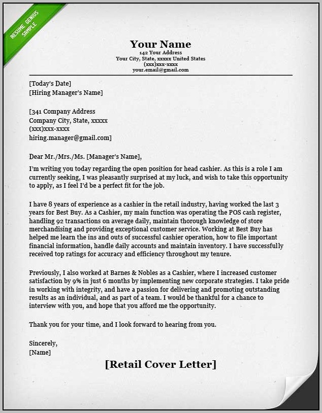 Sample Cover Letter For Resume Cashier