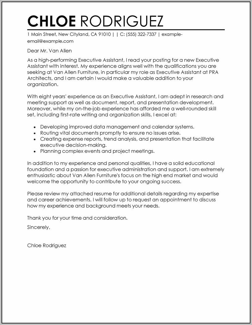 Sample Cover Letter For Resume Executive Assistant