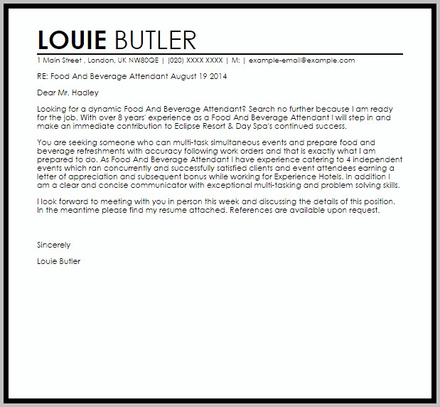 Sample Cover Letter For Resume Food And Beverage