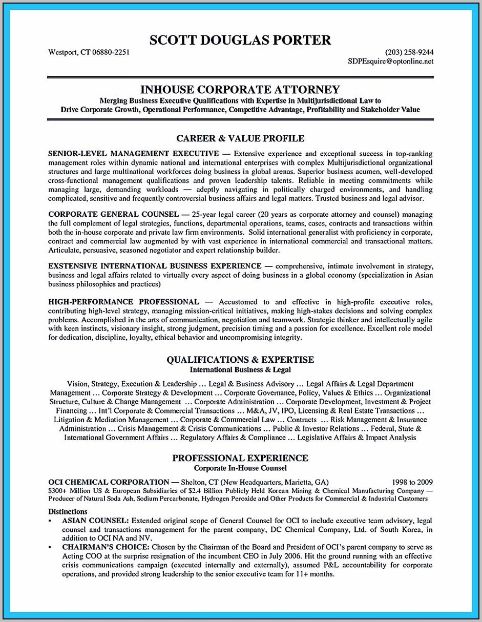 Sample Cover Letter For Resume General Counsel Position