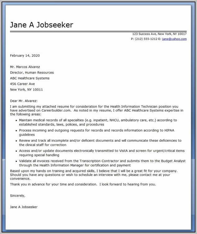 Sample Cover Letter For Resume Human Resources Assistant