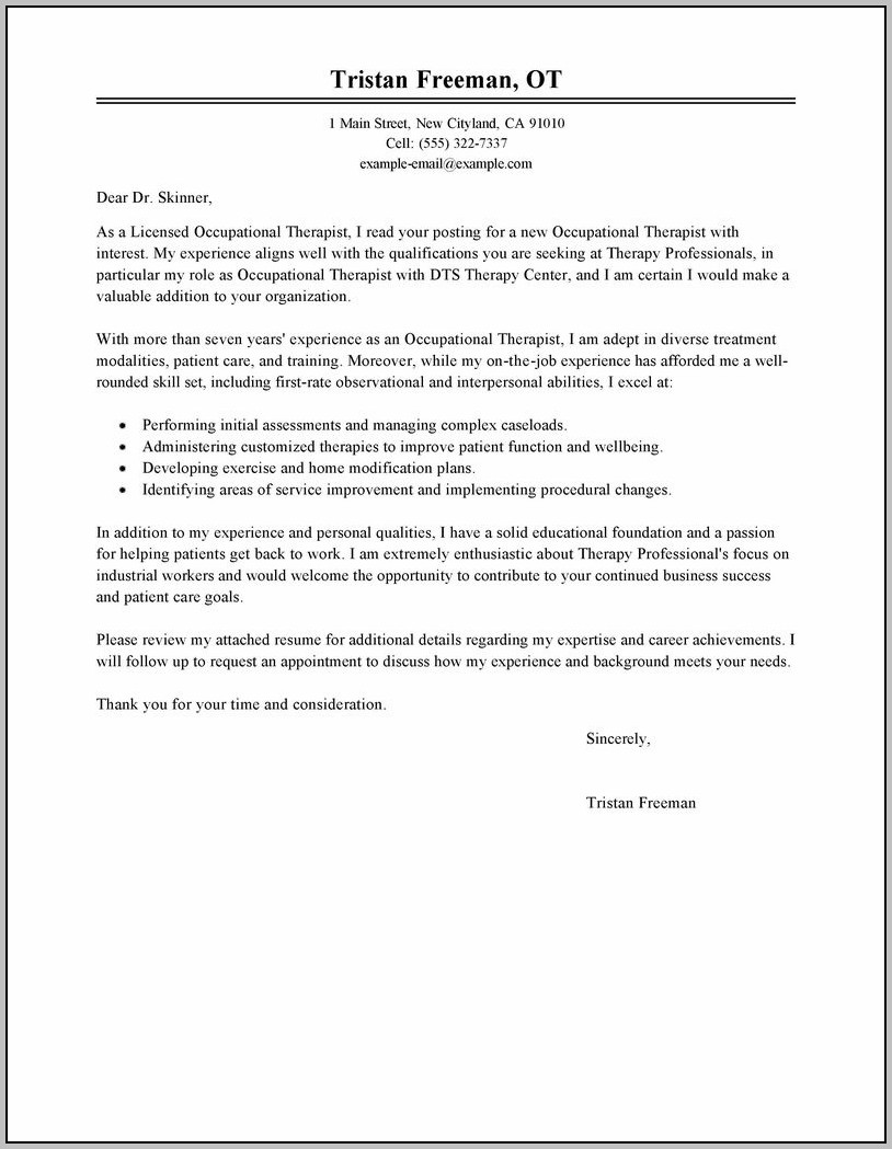 Sample Cover Letter For Resume Occupational Therapy