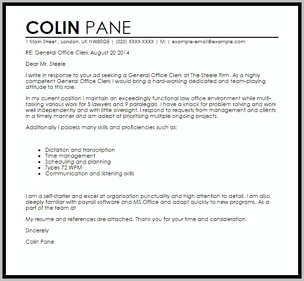 Sample Cover Letter For Resume Office Clerk