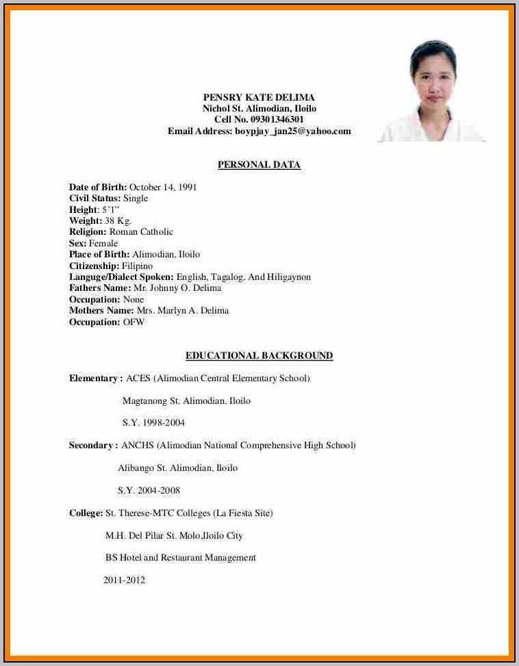 Sample Cover Letter For Resume Ojt