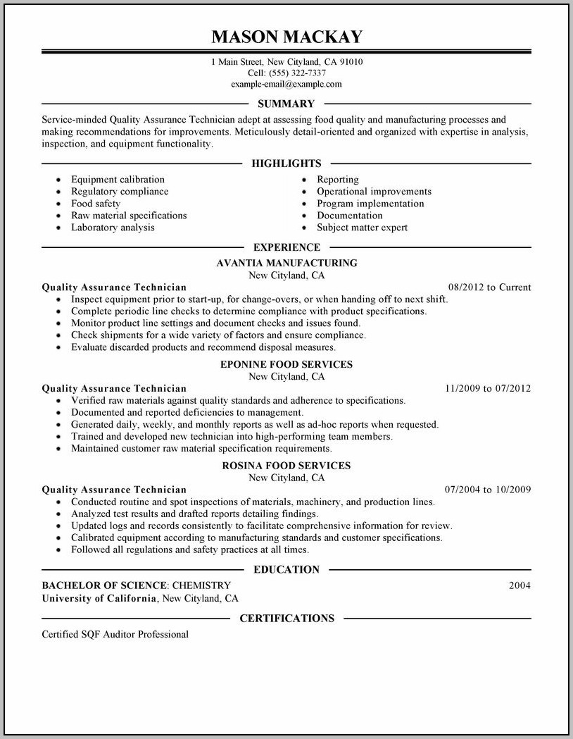 Sample Cover Letter For Resume Quality Assurance