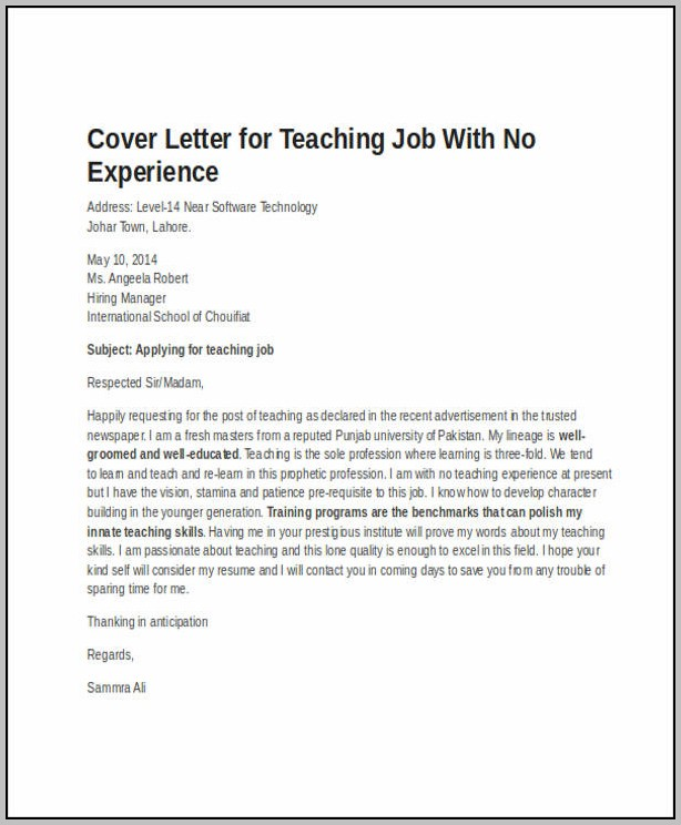 Sample Cover Letter For Teacher No Experience