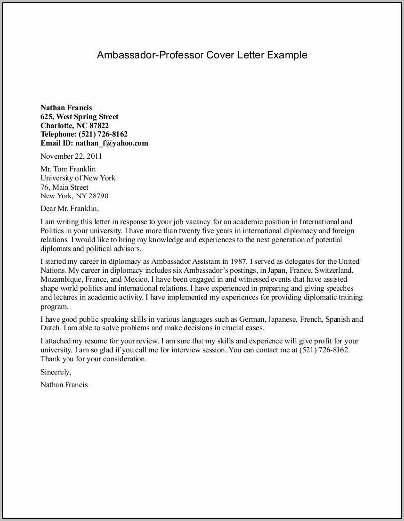 Sample Cover Letter For Teacher Position With No Experience