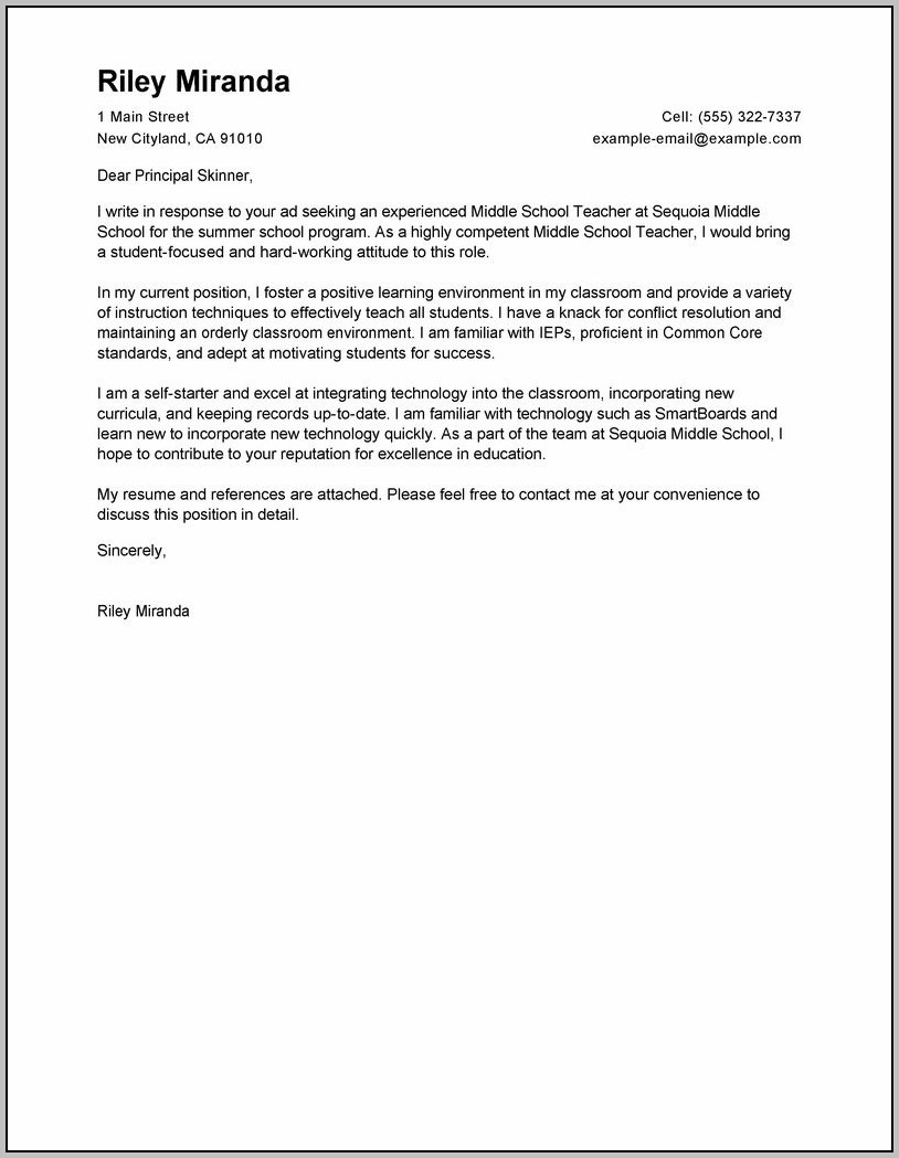 Sample Cover Letter For Teacher Position
