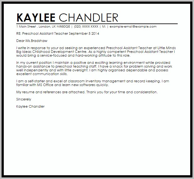 Sample Cover Letter For Teaching Assistant With Experience