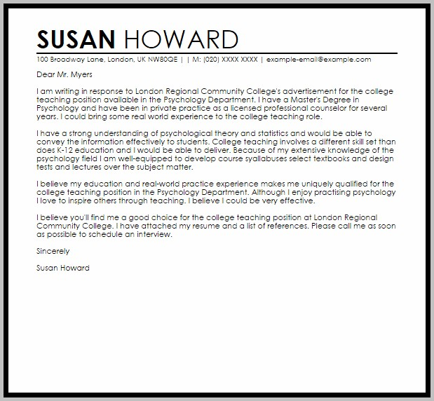 Sample Cover Letter For Teaching At Community College