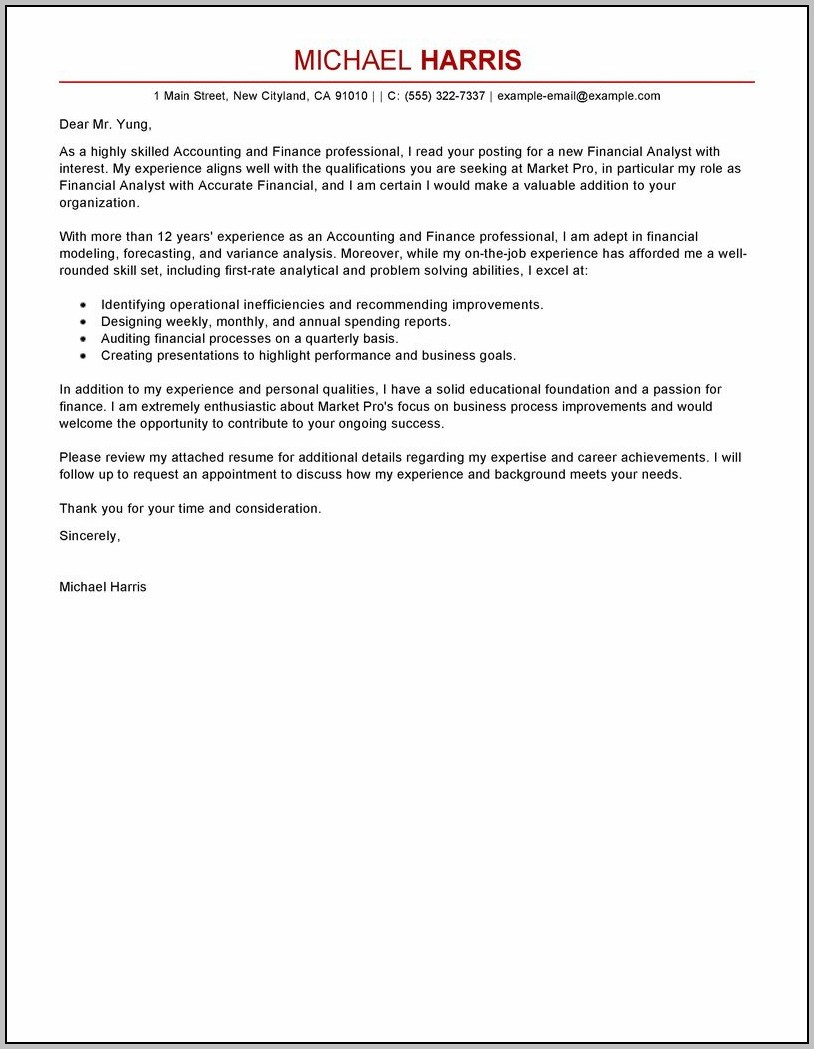 Sample Of Cover Letter For Resume As Accounting