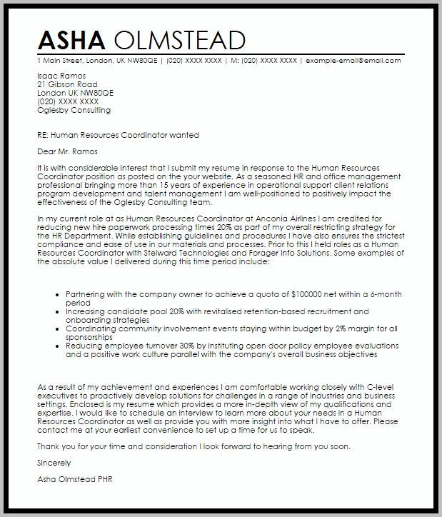 Sample Of Cover Letter For Resume For Human Resource