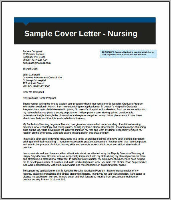 Sample Of Cover Letter For Resume In Nursing