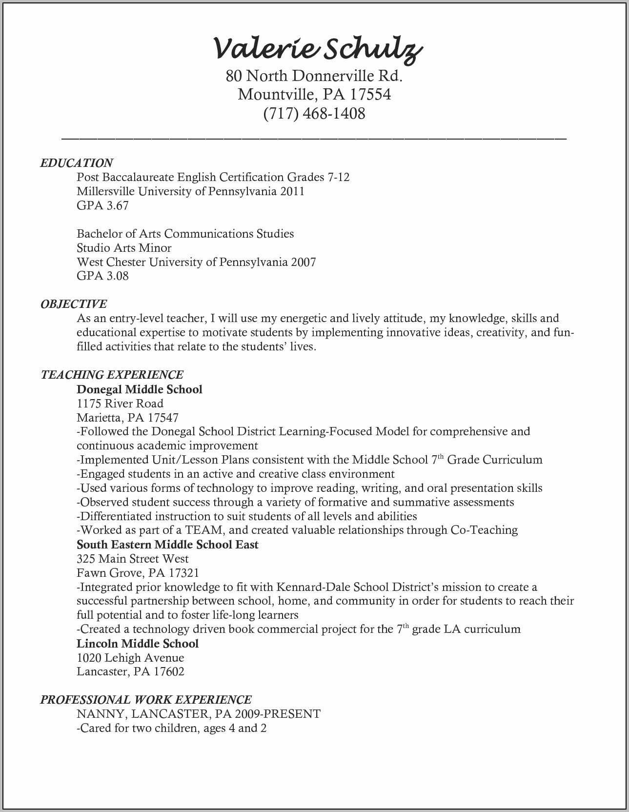 Artist Resume Sample Mock Resume Example Teachers Assistant With Teaching Cover Letter For New Teachers