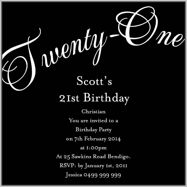 21st Birthday Invitations Ideas Templates