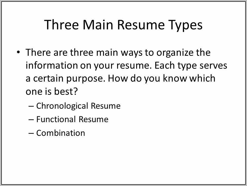 3 Types Of Resume With Examples