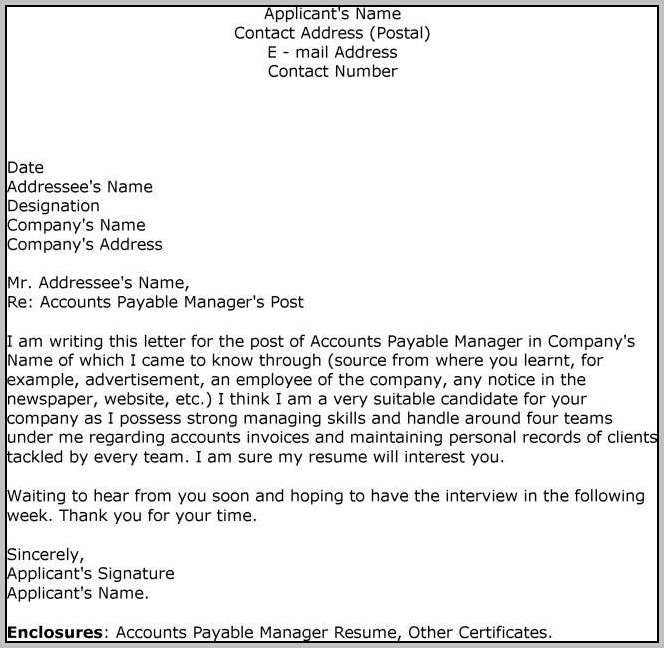 Accounts Payable Clerk Cover Letter Template