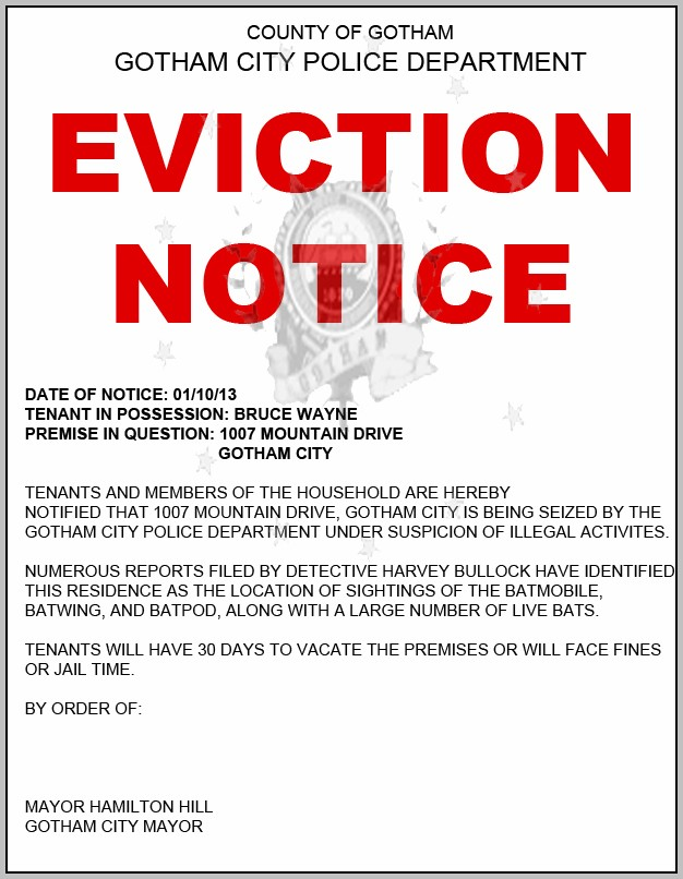 Baby Eviction Notice Template