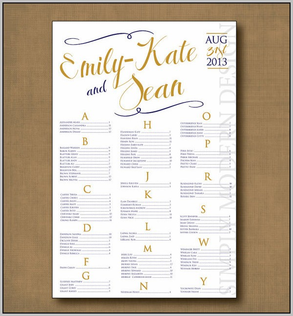 Best Wedding Seating Chart Template