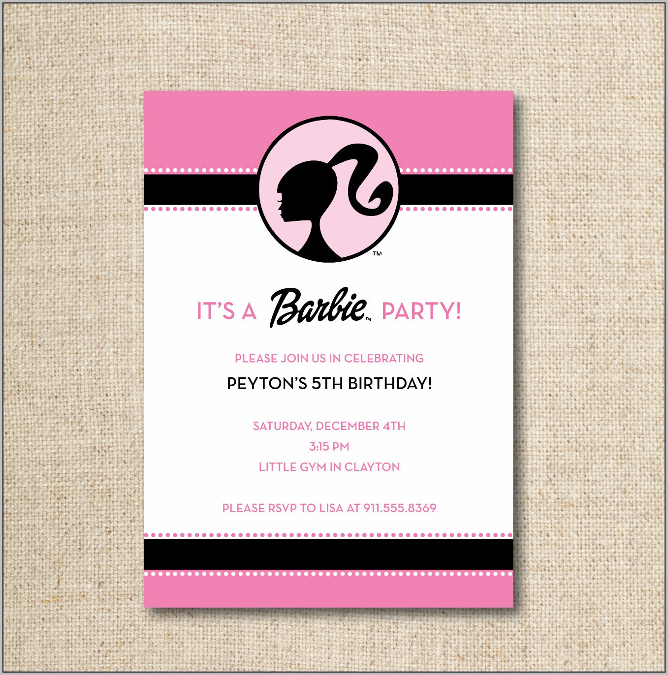 Birthday Invitation Barbie Template